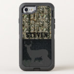 """Camo Deer Hunting Personalized Phone Case<br><div class=""""desc"""">For the guy or girl who loves deer hunting season,  this camo phone case is for them. The design features a camouflage and black diamond plate background. A big buck deer is standing on the grass at the bottom of the phone. Add any name to customize this case.</div>"""