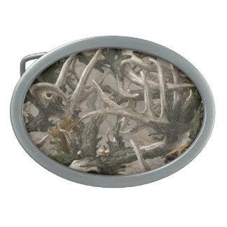 Camo del cráneo de los ciervos de la selva virgen hebilla de cinturón oval