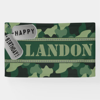 Camo, Dogtags, Army Birthday Party Banner