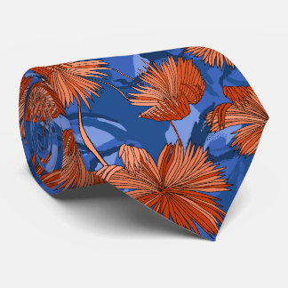 Camo Flowers Floral Blue Two-sided Printed Tie