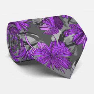 Camo Flowers Floral Gray Single-side Printed Tie