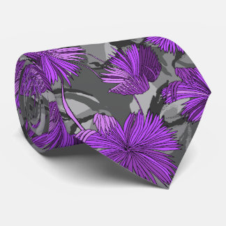 Camo Flowers Floral Gray Two-sided Printed Tie