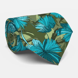 Camo Flowers Floral Olive Two-sided Printed Tie
