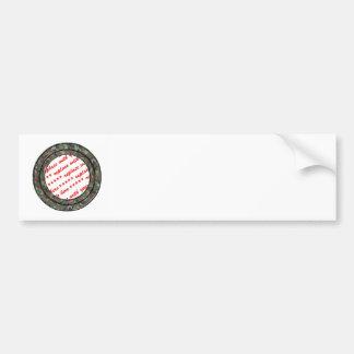 Camo Forest / Woodland Circle Photo Frame Template Bumper Sticker