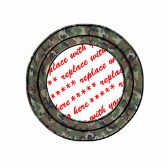 Camo Forest / Woodland Circle Photo Frame Template Standing Photo Sculpture