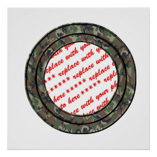 Camo Forest / Woodland Circle Photo Frame Template Poster