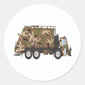 Camo Garbage Truck Military Classic Round Sticker