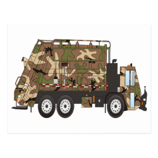 Camo Garbage Truck Military Postcard
