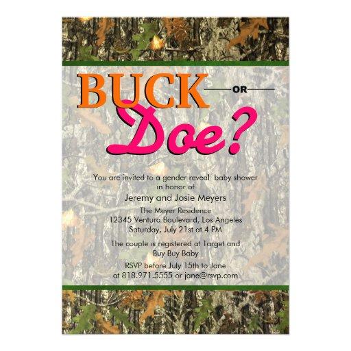 Camo Gender Reveal Invitations - Buck or Doe