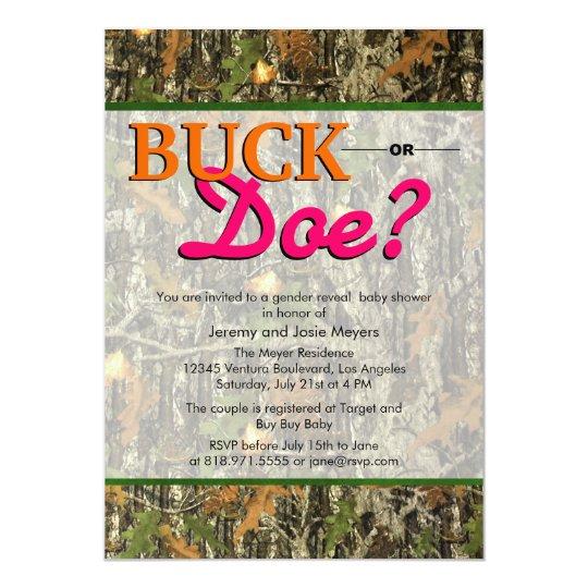 Camo Gender Reveal Invitations Buck Or Doe