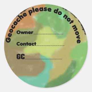 Camo geocache lable classic round sticker