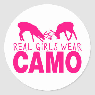CAMO GIRL CLASSIC ROUND STICKER