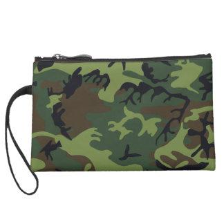 [CAMO-GR-1] Green and brown camo Suede Wristlet Wallet