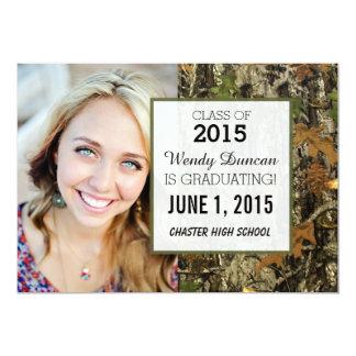 """Camo Graduation Personalized Announcement 5"""" X 7"""" Invitation Card"""
