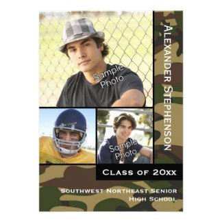 Camo Green 3 Photo Graduation Cards