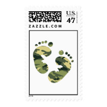 Camo green Feet Postage Stamp for baby boy shower