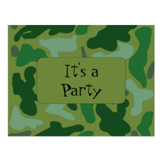 Camo Green Teen Boys Birthday Party Invitation Postcard