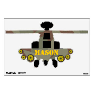 Camo Green Yellow Helicopter Wall Decal