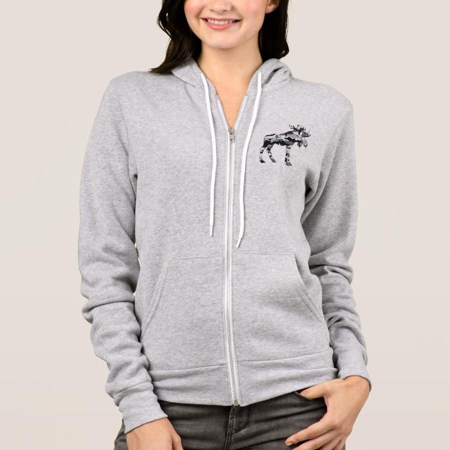 Camo-Grey-Moose Hoodie - Creative Long-Sleeve Fashion Shirt Designs