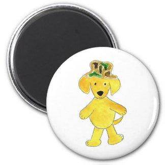 Camo Hat Yellow Lab 2 Inch Round Magnet