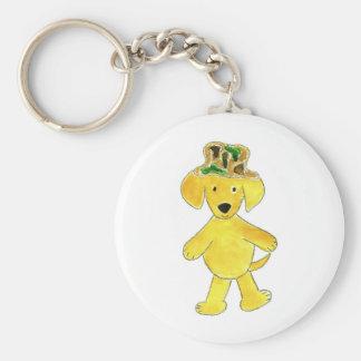 Camo Hat Yellow Lab Keychain
