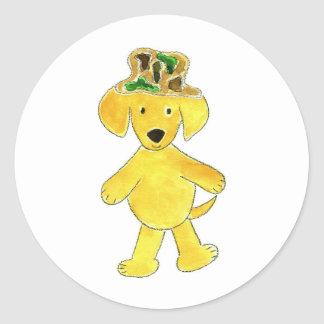 Camo Hat Yellow Lab Round Stickers