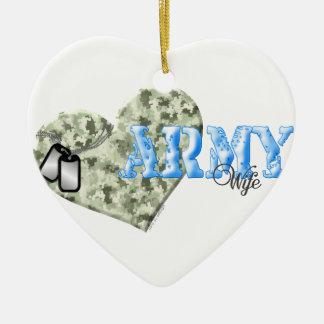 CAMO HEART ARMY WIFE CERAMIC ORNAMENT