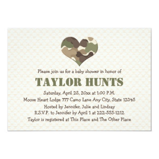 Camo Heart Baby Shower Invitations