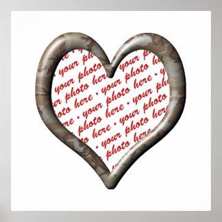 Camo Heart - Desert - Template Photo Frame Poster