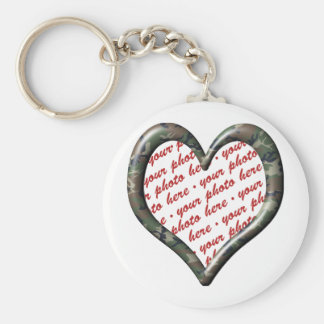 Camo Heart - Forest - Template Photo Frame Basic Round Button Keychain