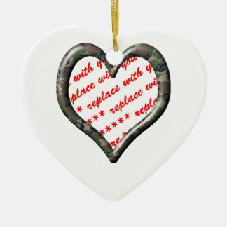 Camo Heart - Forest - Template Photo Frame Ceramic Ornament