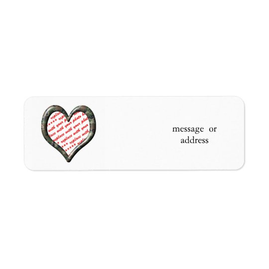 Camo Heart - Forest - Template Photo Frame Label