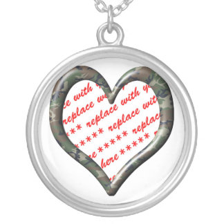 Camo Heart - Forest - Template Photo Frame Silver Plated Necklace