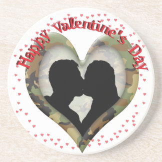 Camo Heart  Kissing Couple Valentine Drink Coaster