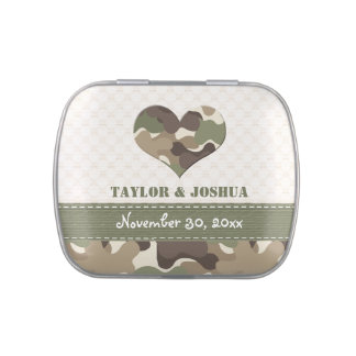 Camo Heart Love Wedding Favor Jelly Belly Tins