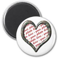 Camo Heart Valentine Photo Frame 2 Inch Round Magnet