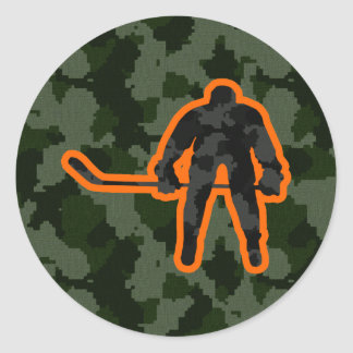 Camo Hockey Classic Round Sticker
