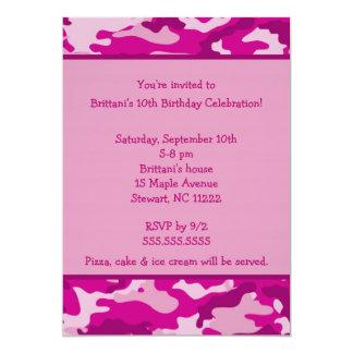 Camo Hot Pink Birthday party invitation