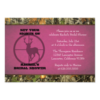 Camo Hot Pink Bridal Shower Invitations