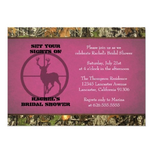 Camo Hot Pink Bridal Shower Invitations