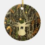 Camo Hunting Deer Monogram Ornament