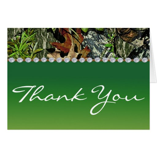 Camo Hunting Themed Wedding Thank You Cards