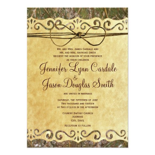 Camo Hunting Vintage Paper Wedding Invitation