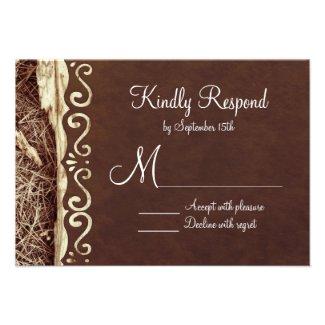 Camo Hunting Vintage Paper Wedding RSVP Cards