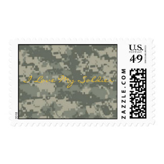 camo, I Love My Soldier Postage Stamp