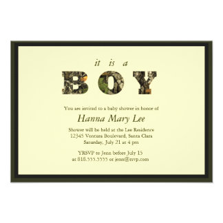 Camo It's A Boy Baby Shower Invitation