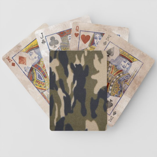 Camo  Jungle Woodsy Camouflage Pattern Bicycle Playing Cards