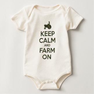 Camo Keep Calm and Farm On Baby Bodysuit
