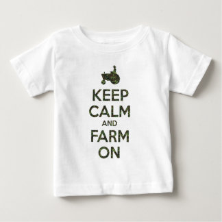 Camo Keep Calm and Farm On Baby T-Shirt
