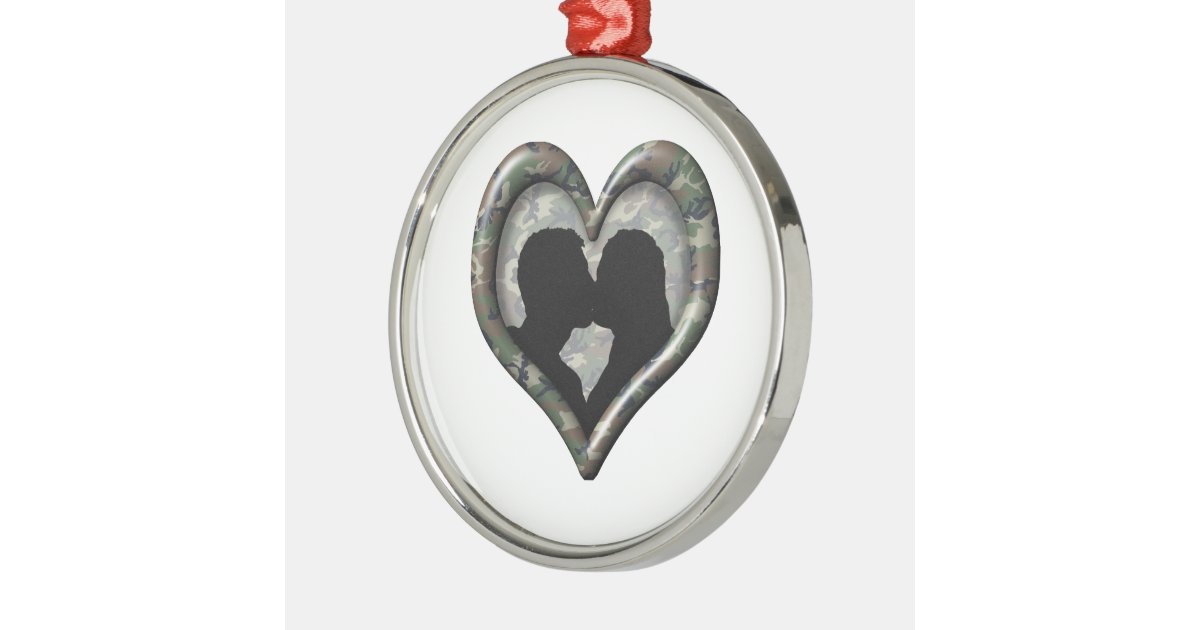Camo kissing couple heart metal ornament zazzle